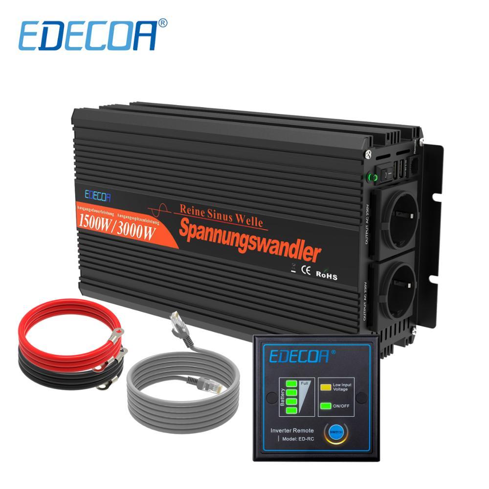 EDECOA силовой инвертор 12 В 220 В 1500 Вт Чистая синусоида 12 В к AC 220 В 230 В Выкл преобразователь сетевого напряжения с пультом дистанционного управл