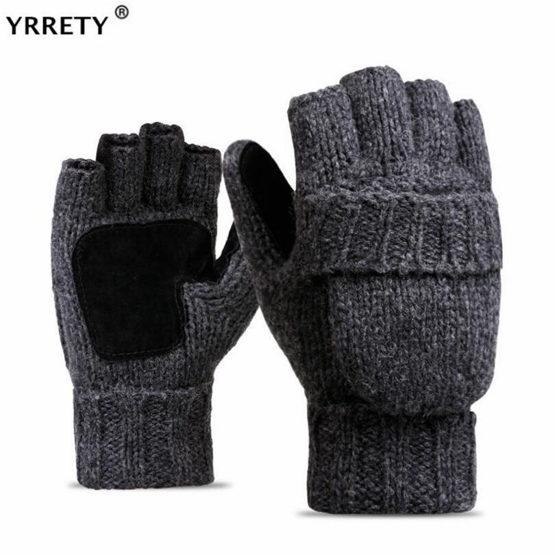 YRRETY Unisex Plus Thick Male Fingerless Gloves Men Wool Winter Warm Exposed Finger Mittens Knitted Warm Flip Half Finger Gloves