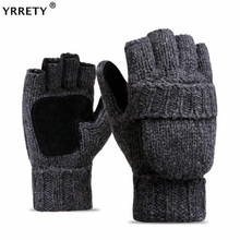 YRRETY Unisex Plus Thick Male Fingerless Gloves Men Wool Winter Warm E