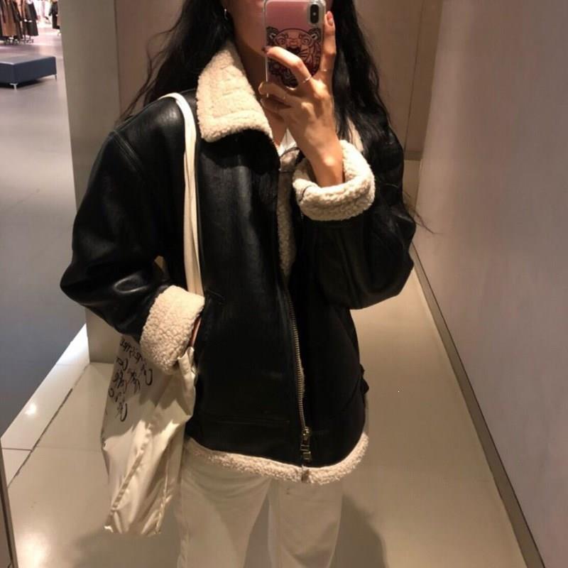 Осенне зимние женские теплые меховые пальто из искусственной кожи, овечья кожа, овчина, Большие куртки, Байкерская верхняя одежда с длинным