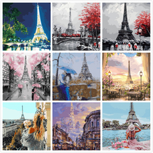 Romantic Paris Eiffel Painting By Numbers Kits Hand Painted Home Decor Drawing Canvas DIY Oil Coloring Paint Pictures By Numbers image