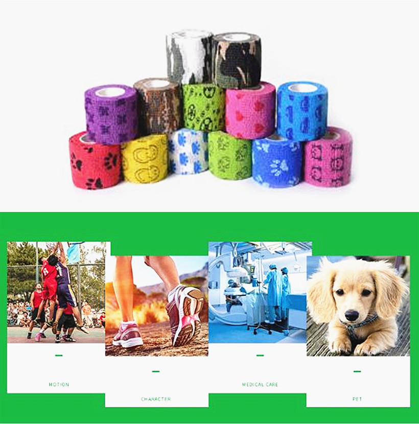 Cartoon Tape Waterproof Self Adhesive Elastic Bandage Muscle Tape First Aid Tape Pet Tape 5cm*450cm Size M  First Aid Kits 1Pc