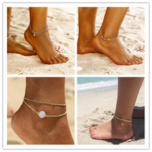 Simple Vintage Opal Stone Star Charm Ankle Layering Pendant Anklet Beaded 2019 Summer Beach Foot Jewelry BOHO Ocean