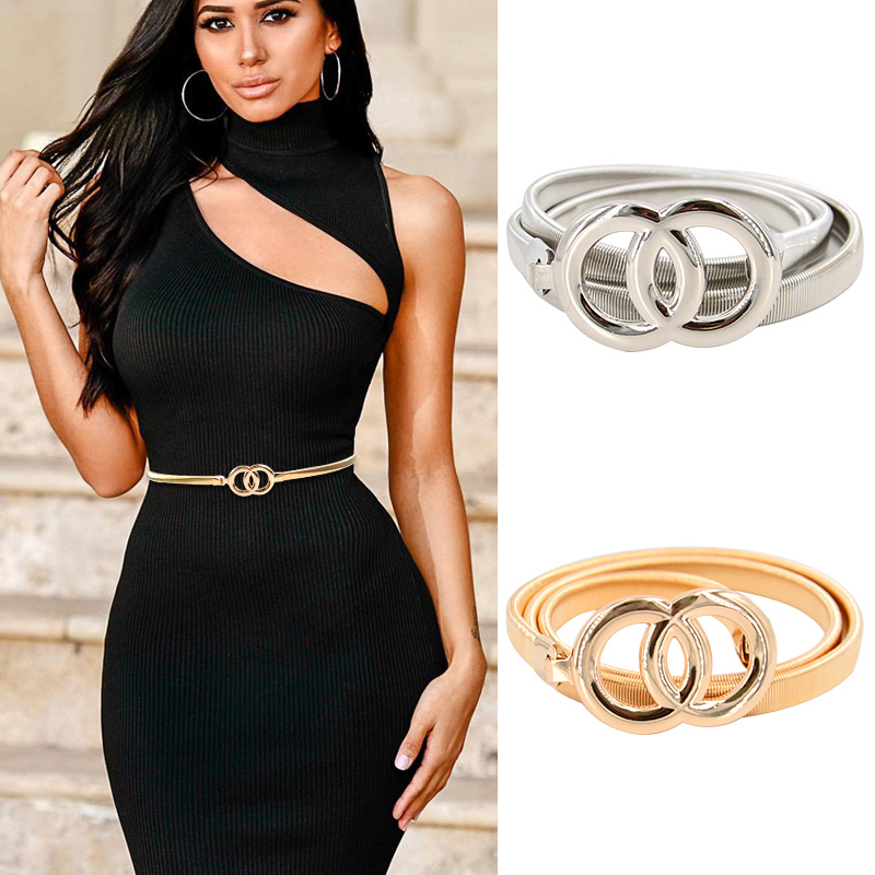 New Double Ring Belt Gold Silver Stretch Elastic Waist Belts for Women Metal Plate Female Lady Dress Waistband ceinture femme
