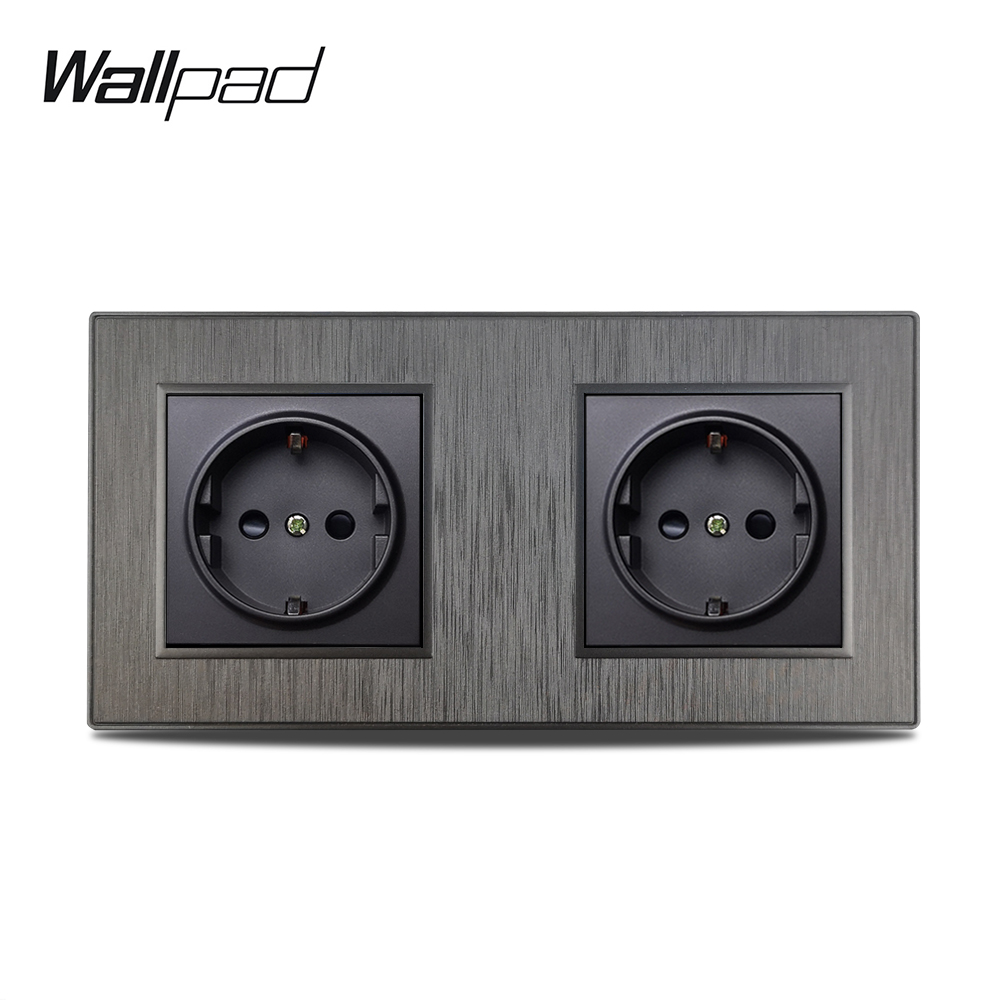 Wallpad S6 Double 2 EU Electric Outlet Power Wall Socket German Plug 3 Colors Brushed PC Plastic Design