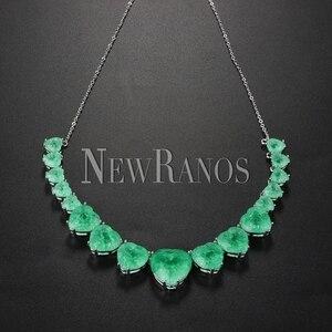 Image 1 - Newranos Hart Kristal Ketting Blauw Natuurlijke Fusion Stone Choker Ketting Voor Vrouwen Mode sieraden NFX0013124