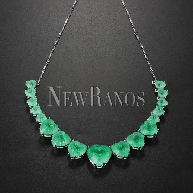 Newranos Hart Kristal Ketting Blauw Natuurlijke Fusion Stone Choker Ketting Voor Vrouwen Mode sieraden NFX0013124