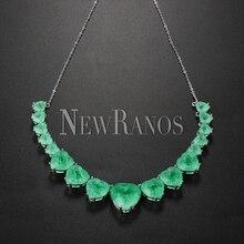 Newranos ハートクリスタルネックレスブルーナチュラル融合石チョーカーネックレス女性のファッションジュエリー NFX0013124
