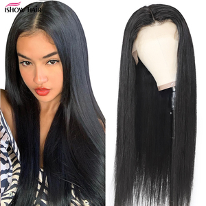 Image 1 - Ishow Lace Front Human Hair Wigs Pre Plucked Straight Lace Front Wig With Baby Hair Peruvian Part Lace Wig Human Hair Wigs