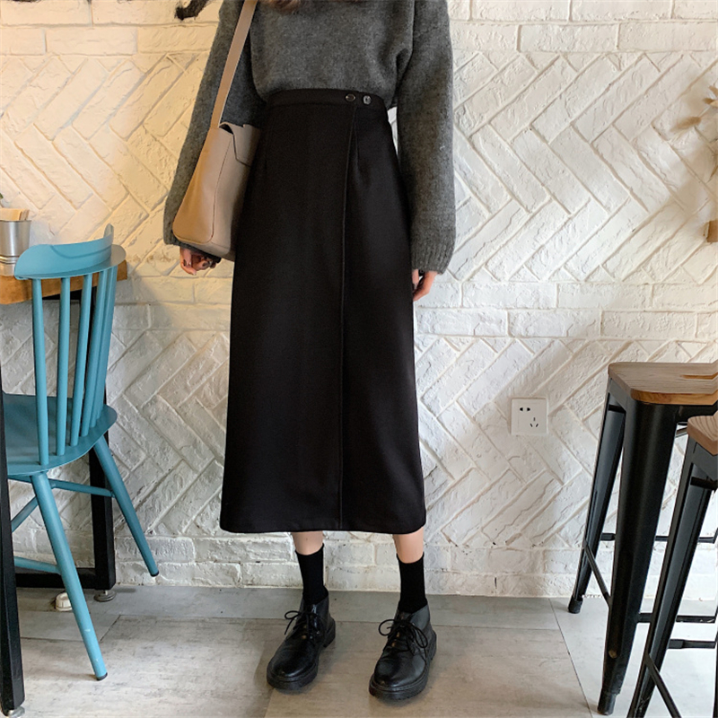 Skirt Women Long 2019 Black Winter Autumn Korean Version Loose High Waist Vintage A Line Fashion Femme Elegant Streetwear Womens