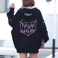 Gothic Harajuku Hoodies Frauen Fleece Lose Brief Druck Tasche Lace-Up Mit Kapuze BF Stil Mid-Länge Herbst Winter hoodies