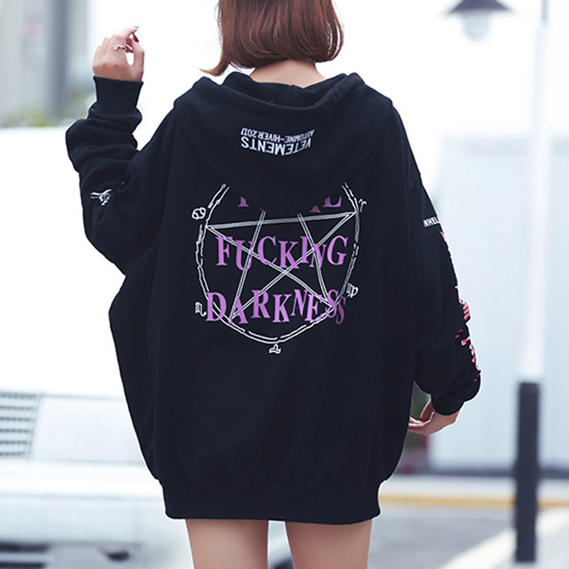 Gothic Harajuku Hoodies Women Fleece Loose Letter Print Pocket Lace-Up Hooded BF Style Mid-Length Fall Winter Hoodies