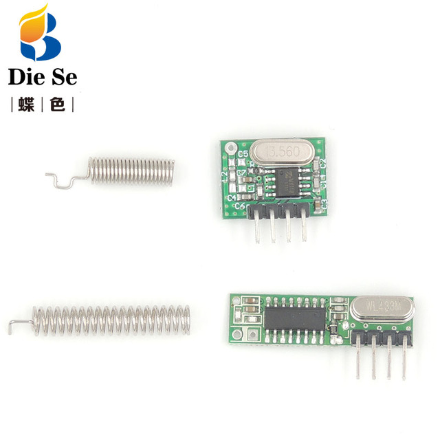 RF module 433Mhz superheterodyne receiver and transmitter kit with antenna For Arduino uno Diy kits 433mhz Remote control