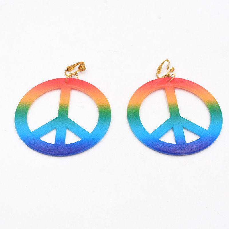 SOOWOOT 5 Pieces Hippie Costume Jewelry Set for Women Men Hippie Peace Sign Pendant Necklace Sunflower Headband Rainbow Peace Earrings Headband Bandana 60s 70s Party Accessories Peace Set