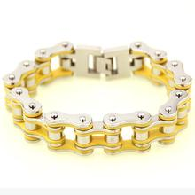 Punk Silver Yellow Fashion Bike Motor Motorcycle Chain Titanium Stainless Steel Biker Mens Bracelet Bangle jewelry 8.66