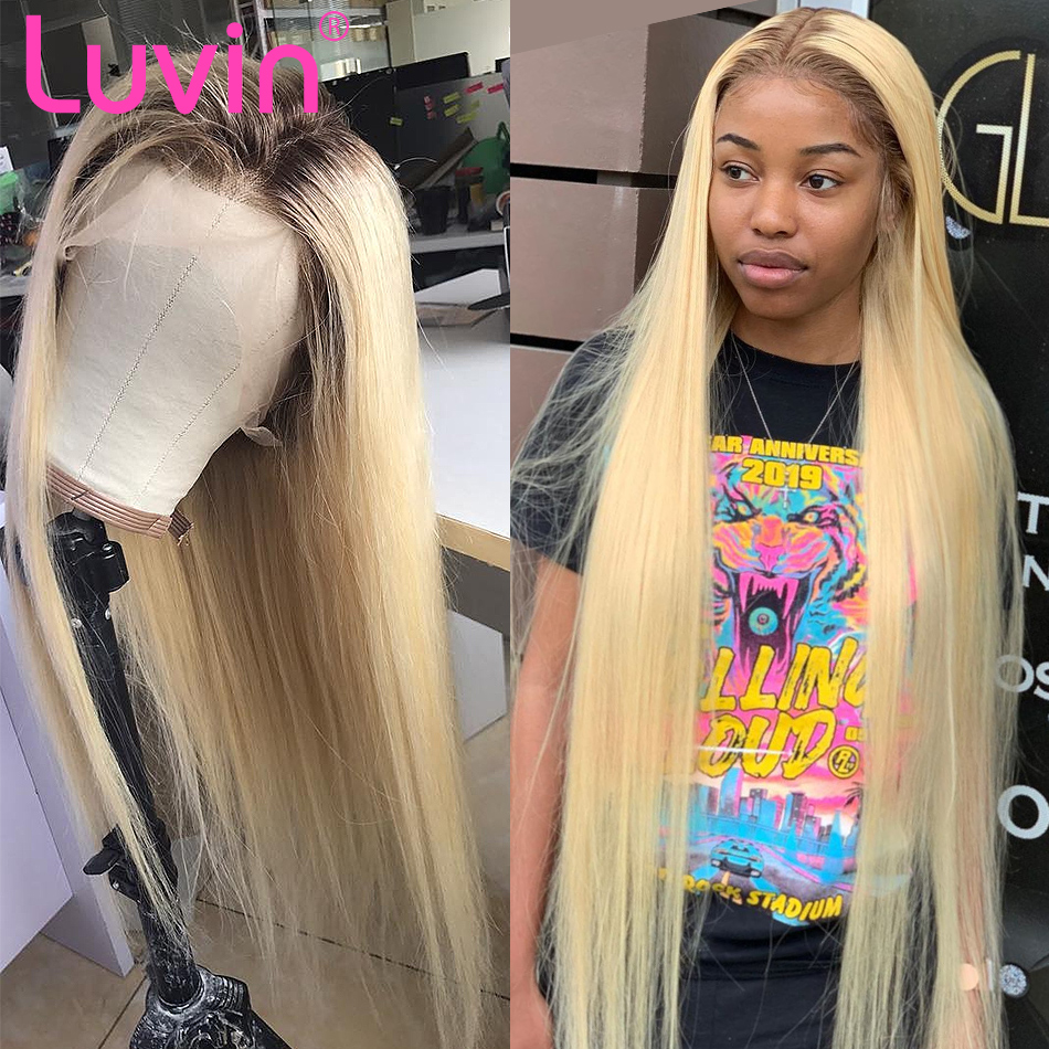 Luvin 613 blonde Lace Front Wig Straight Brazilian Remy Human Hair Ombre T1B/613 Lace Frontal Wigs For Women Long Full Wig-in Human Hair Lace Wigs from Hair Extensions & Wigs    1