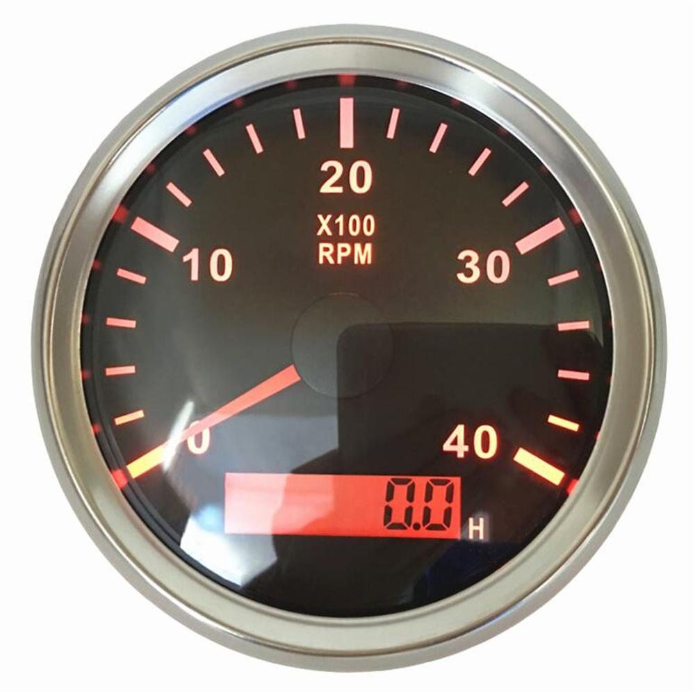 1 stk 100% splinterny 85mm farvetællere Enhed 0-4000 RPM 9-32v omdrejningsmålere med timesæt til automatisk båd med rød baggrundsbelysning