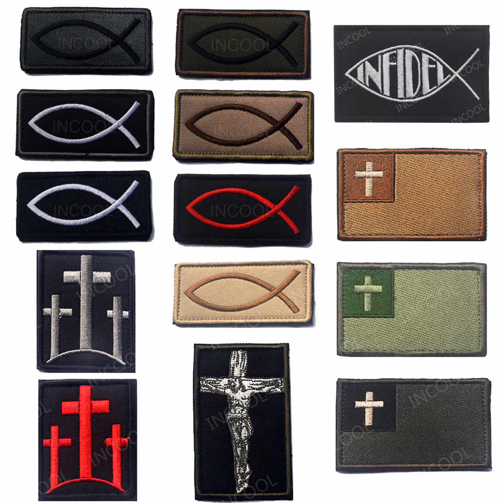 Bordir Patch Ikan Yesus Moral Patch Christian Ikan Simbol Taktis Lambang Militer Lencana Bordiran Patch Bordir