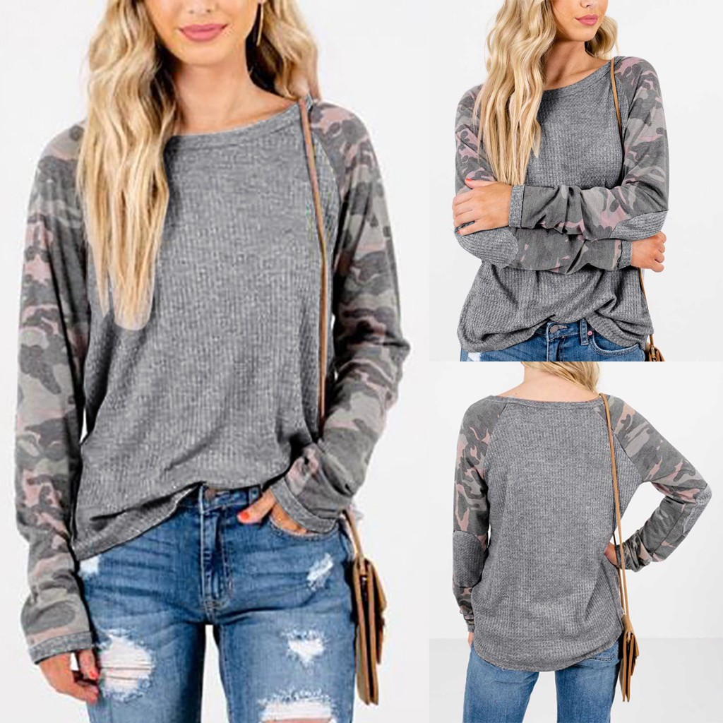 Winter 2020 Fashion Womens O-Neck Long Sleeves Camouflage Print Loose Casual Blouse Tops Dropshipping INS style Net red Fashion
