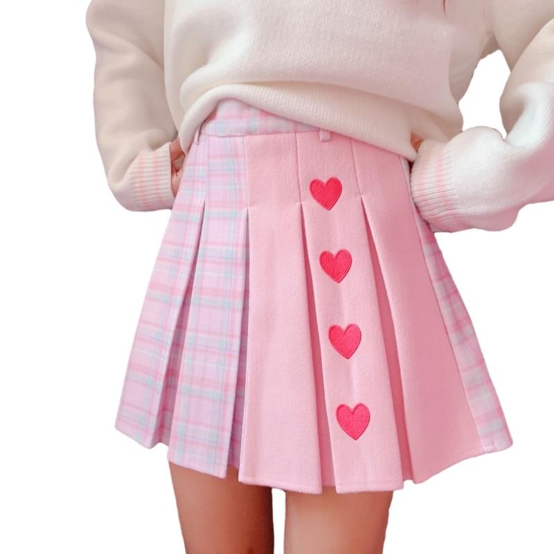 High-Waist Heart Pink Pleated Skirt