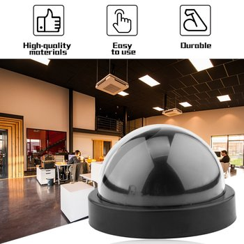 Black Plastic Smart Indoor/Outdoor Dummy Home Dome Fake CCTV Security Camera with Flashing Red LED Light CA-05 Dropshipping image