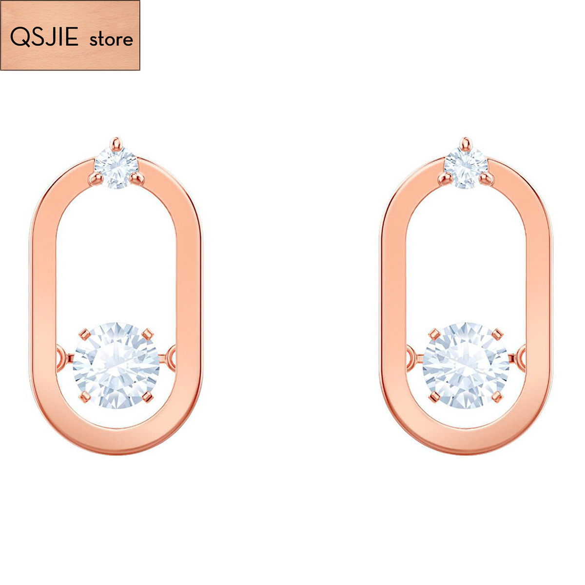 QSJIE High quality SWA, shiny romantic new heartbeat Earrings Glamorous fashion jewelry
