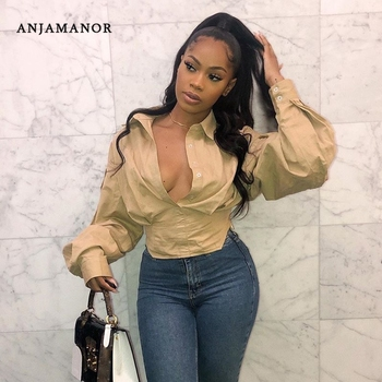 ANJAMANOR Vintage Sexy Lantern Sleeve Blouse Plus Size Women Clothing Button Up Long Sleeve Shirts Fashion Top 2020 D22-CE23 1