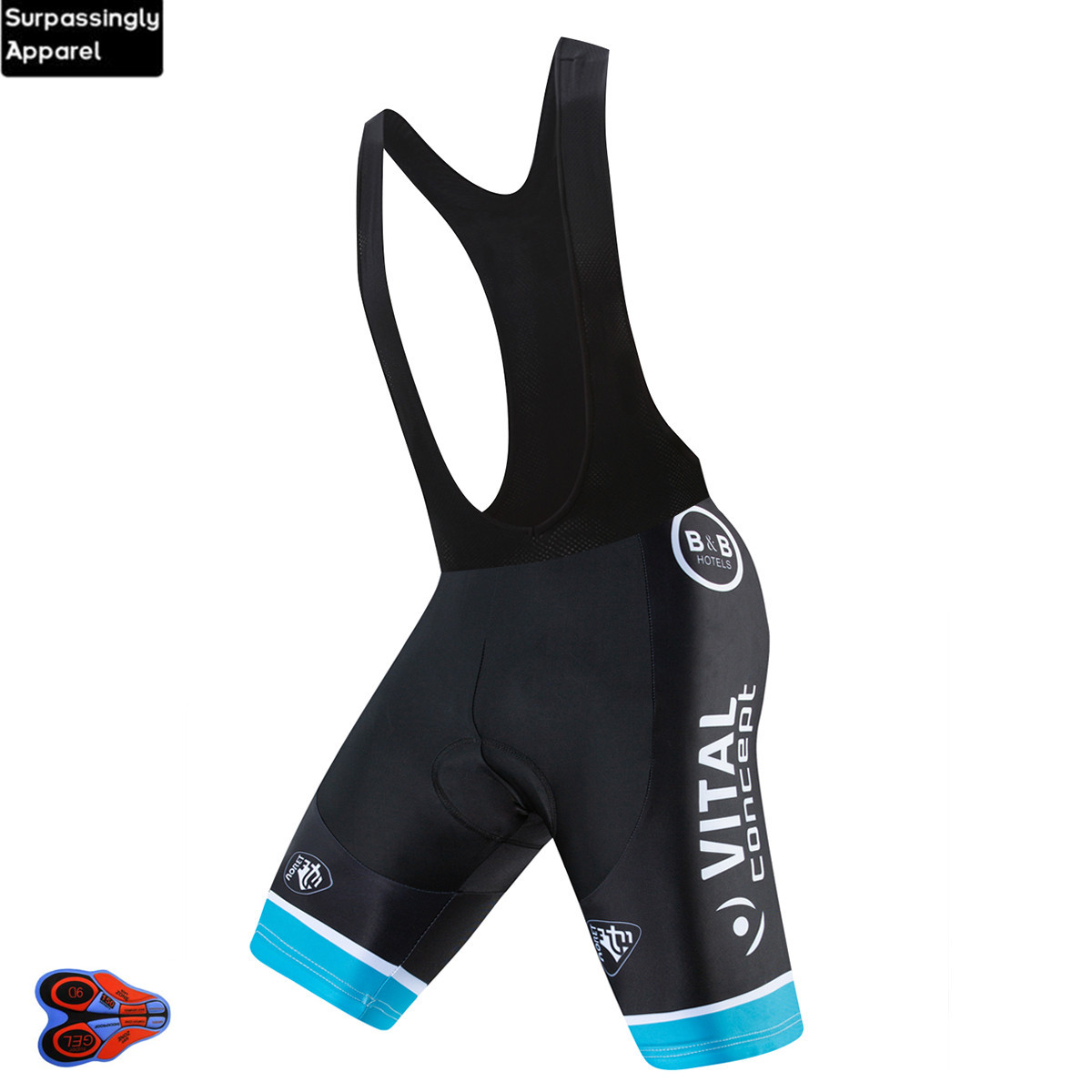 2019 VITAL Concept Pro UCI Team Summer Mens Cycling <font><b>Bib</b></font> <font><b>Short</b></font> With 9D Gel Pad MTB Bike Riding <font><b>Shorts</b></font> Bicycle Cycling Black Pants image