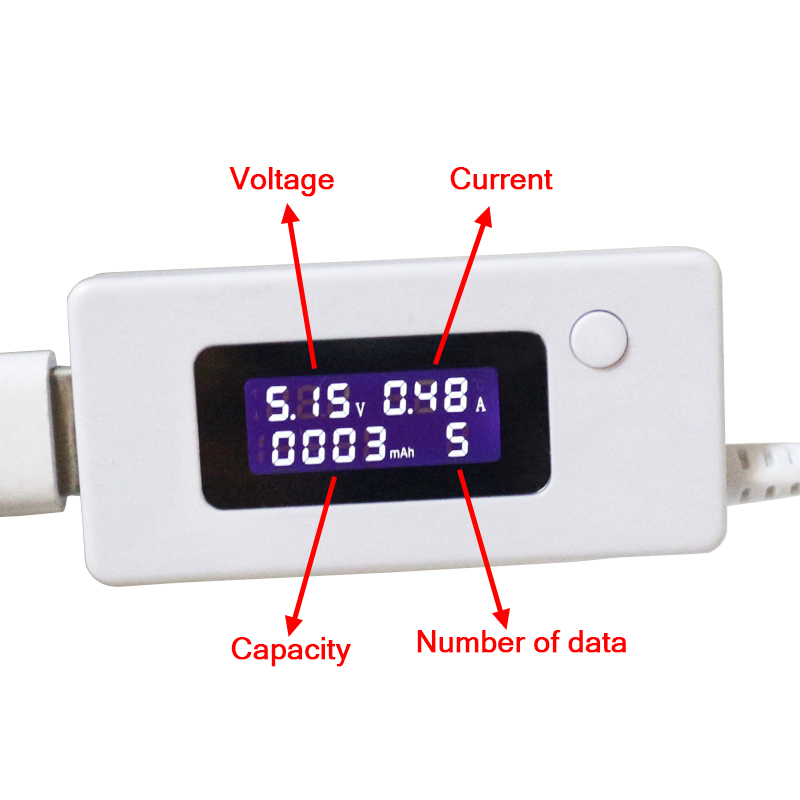 USB Charger Capacity Current Voltage 3-15V Tester Meter For Cell Phone Charging Power LCD Display Volt Amp Monitor For Battery