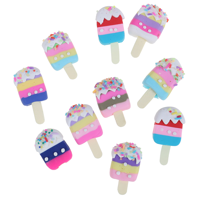 5pcs/lot Dollhouse Miniature Pretend Toy Mini Soft Ice Cream Bar DIY Ice-lolly Simulation Food For Dolls Accessories