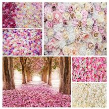 Flowers Valentines Day Photo Backdrops Vinyl Cloth Background for Wedding Lovers Portrait Children Photoshoot Photography Props