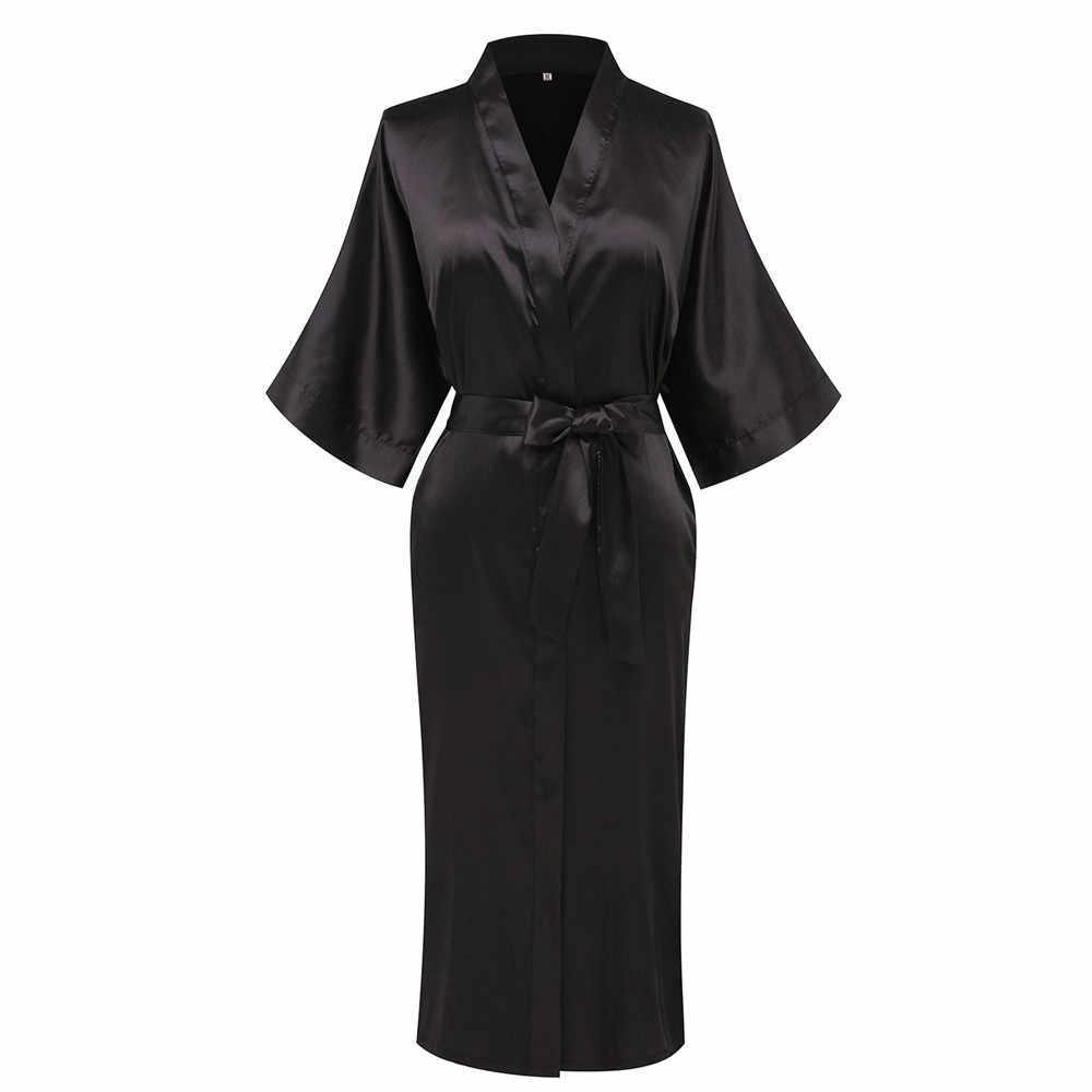 Borgogna Sexy Midi Delle Donne Robe Kimono Dell'abito Casual Allentato Salotto Vestaglia Confortevole Raso Softy Della Biancheria Intima Degli Indumenti Da Notte
