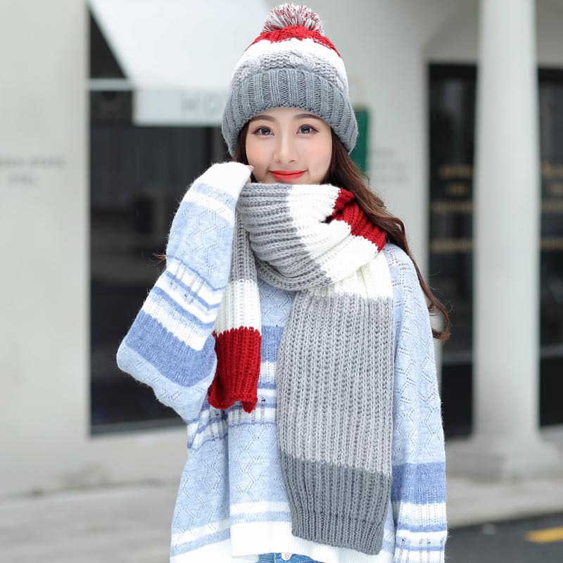 Women's Hat And Scarf Gloves Set Three Pieces For Women Kitted Wool Winter Hats For Girls Thick Warm Pom Hat Scarf Glove Set