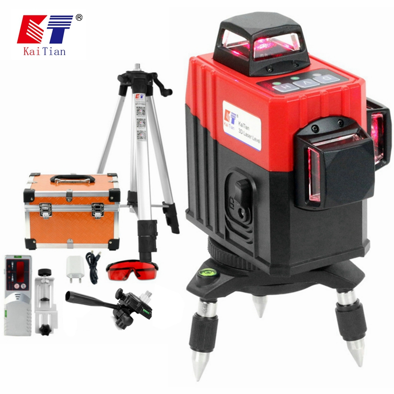 Kaitian laser nível tripé auto-nivelamento profisional 3d 12 linhas 360 vertical & horizontal super poderoso vermelho linha lasers receptor