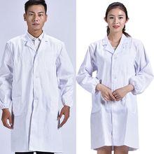 Унисекс с длинным рукавом белый лабораторный халат Для мужчин Для женщин отложным воротником на пуговицах врача блузка с карманами с принтом медсестры форма