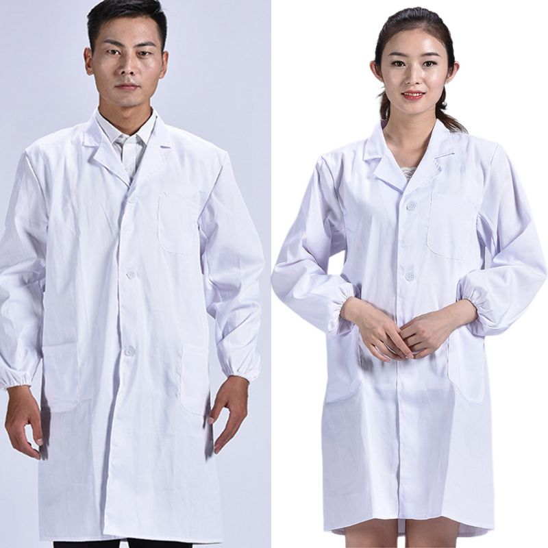 Unisex Long Sleeve White Lab Coat Men Women Lapel Collar Button Down Medical Doctor Blouse With Pockets	Doctor Nurse Uniform