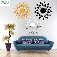 Zlca зеркальные подсолнухи 3d Наклейка на стену золотые серебряные