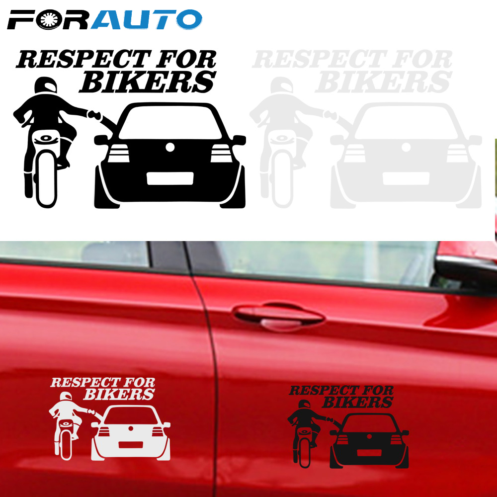 19.5*15.5CM Respect For Bikers Auto Decoration Car Sticker 1pc Car Styling Funny Auto Stickers And Decals Car Accessories