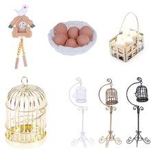 1:12, мини кукольный домик, металлическая клетка для птиц, модель с держателем, кукольный дом, миниатюрные украшения, современный дом, комната, ремесла, детские игрушки