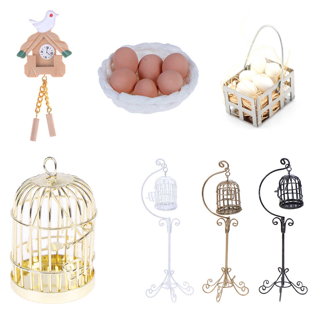 1:12 Mini Dollhouse Metal Bird Cage Model With Holder Doll House Miniature Decorations Modern Home Room Crafts Children Toys