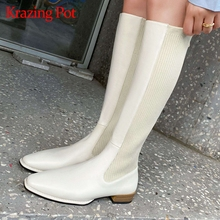 Knitting Boots Krazing-Pot Square Toe Big-Size Knee-High L41 Charming Beauty Lady Keep-Warm