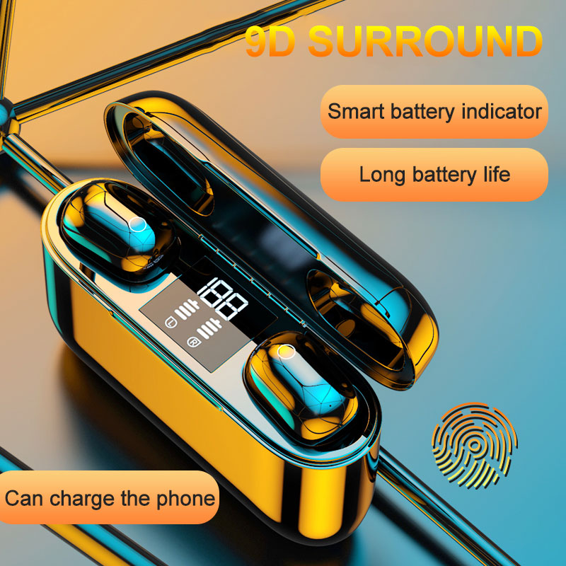 <font><b>M2</b></font> <font><b>Tws</b></font> Wireless Bluetooth Headset 5.0 LED Digital Display Touch With Charging Compartment 2500 mAh image