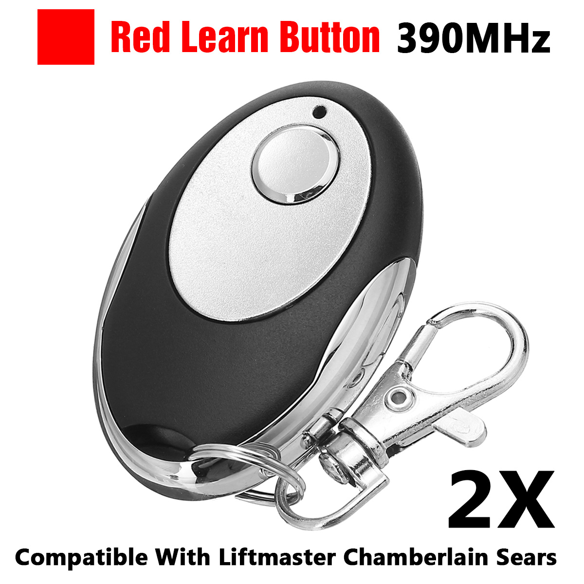 2 pces 1b 390 mhz abridor de porta da garagem remoto vermelho aprender botão para chamberlain sears liftmaster craftsman 971lm 972lm 973lm 970lm