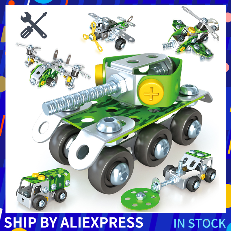 Military Car 3D Puzzle Metal Airplane Assembly Toy Truck Model Toy Vehicles Building Block For Children Steel Block Toys Gifts image