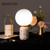 Decorative Table Lamp Nordic LED Terrazzo Beside Lamp Desk Bedroom Nightstand Lamp Living Room US EU Plug E27