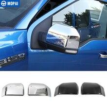 MOPAI فرامل ABS من الكروم الخارجي مرآة الرؤية الخلفية الديكور غطاء الكسوة ملصقات لفورد F150 F 150 2015 حتى سيارة التصميم