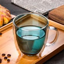350/450ML Double Wall Glass Coffee Mug Heat-Resisting Handgrip Cup Water Milk Tea Mini Layer Espresso Latte