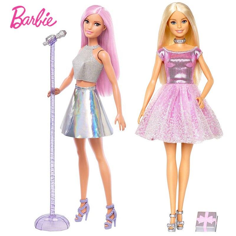 Original marca barbie feliz aniversário & acessório cantar boneca a menina presente brinquedos para meninas crianças presente bonecas juguetes