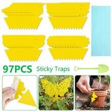 97 pçs/set borboleta amarela forma dupla face placa pegajosa planta flores legumes mosquito moscas armadilha placa inseto adesivo