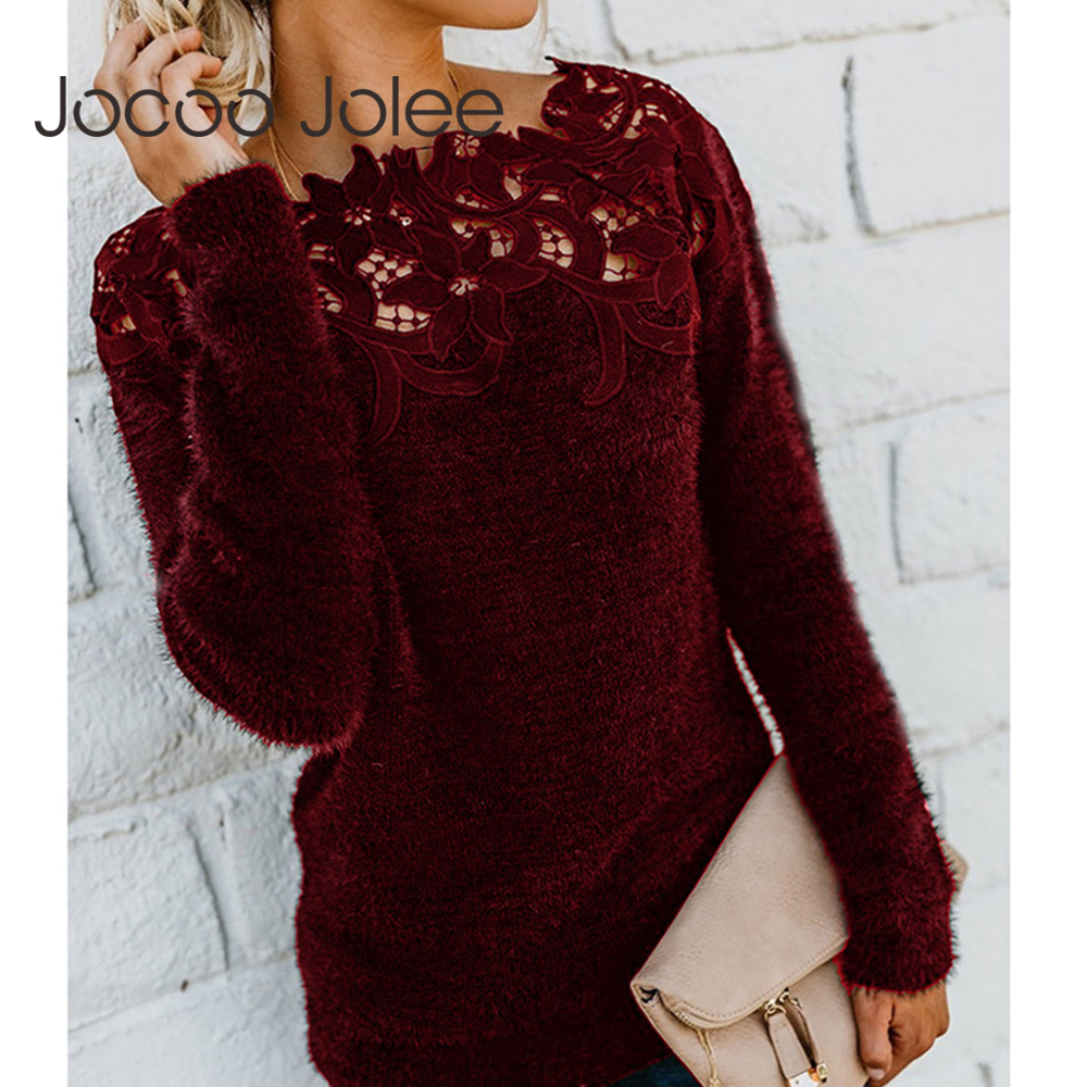 Women Autumn Lace Patchwork Sweater Casual Fleece Plush Pullover Elegant Hollow Out Slash Neck Sweater Knitted Tops Plus Size